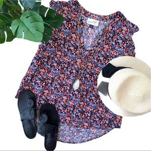 Universal Threads • Floral Ruffle Sleeve Tank Top